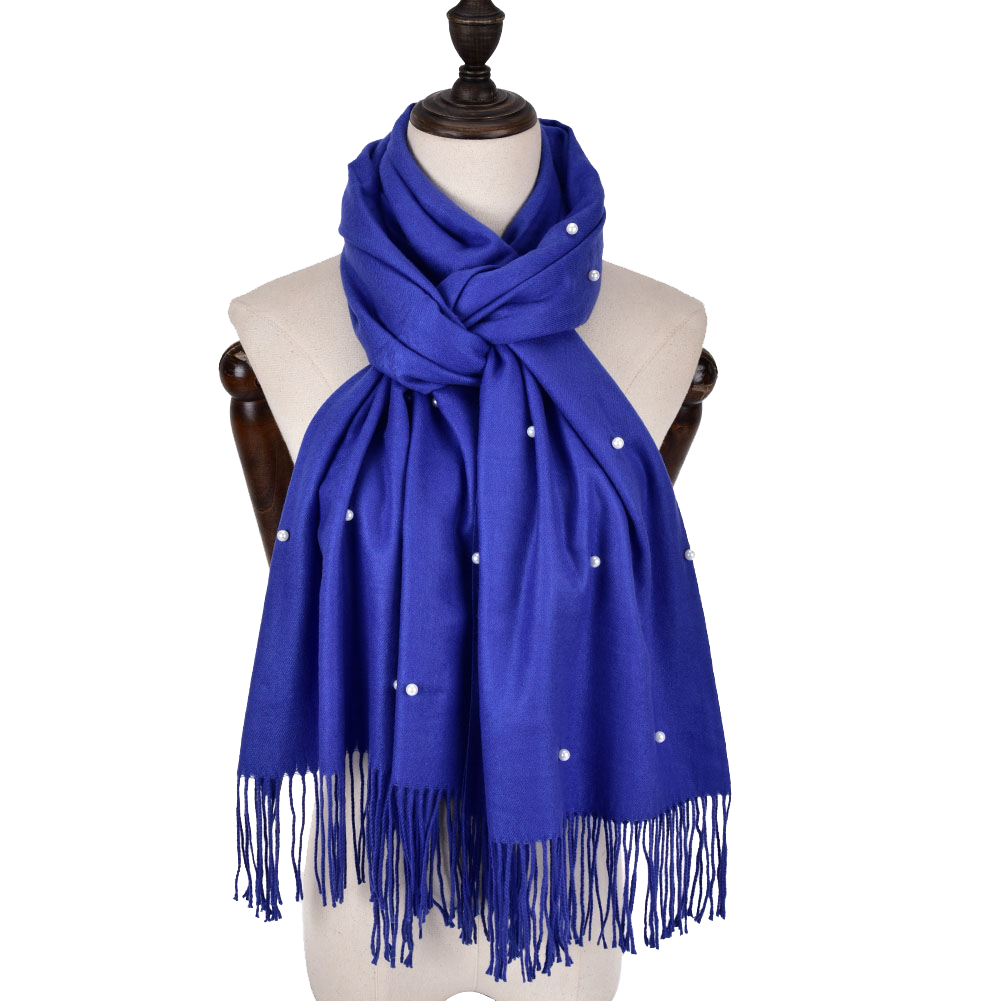Winter Warm Royal Blue scarf with pearls