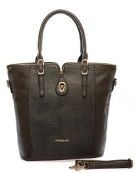 greybrown snakeskin handbag with top zipper.